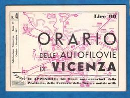 Auto Filovie Tram Bus Vicenza Libretto Linee Orari 1967 - Europe