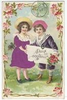Doux Souvenir - Couple D'Enfants - SUPERBE CPA GAUFREE - Robe Fille Et Bonnet Garcon Imitation Velours - 1909 - Autres