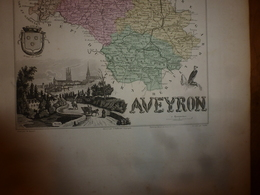 1880:AVEYRON (Rodez,Espalion,Millau,St-Affrique,Villefranche,etc) Carte Géo.-Descriptive:grav.taille Douce Par Migeon. - Geographische Kaarten