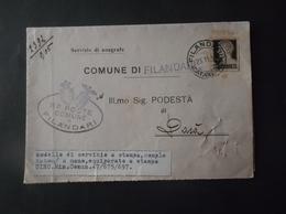 REGNO ITALIA BIGLIETTI CON OVALE DI FRANCHIGIA COMUNALE FILANDARI REGIE POSTE 1939 - 1900-44 Vittorio Emanuele III