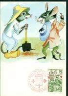 CM- Carte Maximum Card # France-1978 # Croix Rouge-red Cross # Fables De Jean La Fontaine, Fabel # Souris,Maus,mouse - Cartes-Maximum
