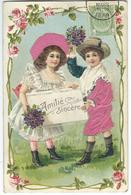 Amitié Sincère - Couple D'Enfants - SUPERBE CPA GAUFREE - Costume Garçon Et Bonnet Fille  Imitation Velours - 1909 - Fantaisies