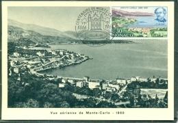 CM-Carte Maximum Card # 1966-Monaco # 100 Years  Monaco #  Panorama - Vue Arienne De Monte-Carlo 1860 - Cartas Máxima