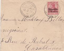 Colonie Allmande Marokko Lettre De Marrakesch 1913 - Bureau: Maroc