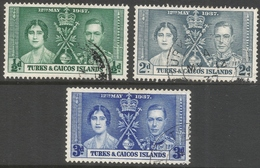 Turks & Caicos Islands. 1937 KGVI Coronation. Used Complete Set. SG 191-193 - Turks And Caicos
