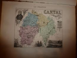 1880: CANTAL (Aurillac,Mauriac,Murat,St-Flour,Massiac,Saignes,etc) Carte Géo.-Descriptive:grav.taille Douce Par Migeon. - Geographische Kaarten