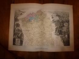 1880: ORAN (Mascara,Mostaganem,Sidi-Bel-Abbès,Tlemcen,Mers El K, Etc) Carte Géo.-Descriptive En Taille Douce Par Migeon. - Cartes Géographiques