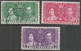 Newfoundland. 1937 KGVI Coronation. Used Complete Set SG 254-256 - 1865-1902