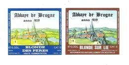 BROUWERIJ DE SMEDT - OPWIJK - ABBAYE DE BROGNE - BLONDE DES PERES - BLONDE SUR LIE  -  2 BIERETIKETTEN  (BE 046) - Beer