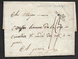 LSC - NONTRON (DORDOGNE) A PARIS - A COUSIN, HOMME DE LOI - Marcophilie (Lettres)