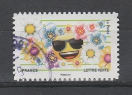 """FRANCE / 2018 / Y&T N° AA 1562 : """"Emoji"""" (Lunettes De Soleil & Fleurs) - Choisi - Cachet Rond - Adhésifs (autocollants)"""