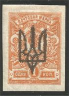 900 Ukraine 1918 1k Orange Surcharge Imperforate Non Dentelé MH * Neuf CH (UKR-76) - Ukraine