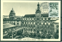 CM-Carte Maximum Card # 1963-France # Sites &  Monuments #  Lycée  Louis Le Grand , Paris - Cartes-Maximum