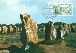 CM-Carte Maximum Card # 1965-France #Sites & Monuments # Geologie # Menhirs,Megalithes #  Alignements De Carnac # Ca - Cartes-Maximum
