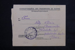 FRANCE - Formulaire De Prisonnier Allemand Du Camp De Hesdin Pour L 'Allemagne Avec Cachet De Contrôle Du Camp - L 22955 - Guerre De 1939-45
