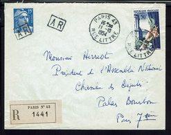 FR - 1954 - Enveloppe Recommandée Avec A.R. De Paris Pour Mr E. Herriot Président Chambre Des Députés Palais Bourbon - - 1921-1960: Periodo Moderno