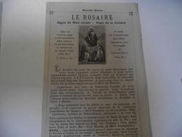 Le ROSAIRE,  Signe Du Dieu Vivant, Vers 1880 - Religion & Esotérisme