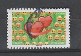 "FRANCE / 2018 / Y&T N° AA 1565 : ""Emoji"" (Cœurs & Emoji) - Choisi - Cachet Rond - Adhésifs (autocollants)"