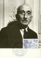 CM-Carte Maximum Card # France-1985 # Personnages Célebres# écrivains,Schriftsteller,author# Francois Mauriac # Bordeaux - Cartes-Maximum
