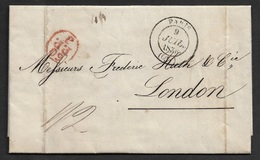 1836 - LAC - PARIS A LONDRES - 60.P.P.J - Verso C.à.d F.P.O Foreign Post Office - Postmark Collection (Covers)