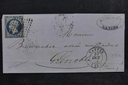 FRANCE - Lettre De Nantes Pour Grenoble En 1853 , Affranchissement Napoléon N° 10 - L 22958 - Marcophilie (Lettres)