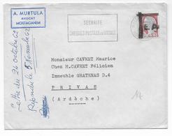 """1962 - ALGERIE - TYPE DECARIS SURCHARGE """"EA"""" Sur LETTRE De MOSTAGANEM => PRIVAS - Algérie (1924-1962)"""