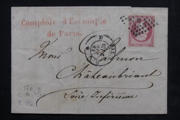 FRANCE - Lettre De Paris Pour Châteaubriand En 1862 , Affranchissement Napoléon 80cts - L 22959 - Postmark Collection (Covers)