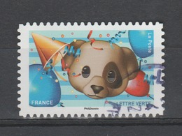 "FRANCE / 2018 / Y&T N° AA 1566 : ""Emoji"" (Chien, Ballons...) - Choisi - Cachet Rond - Adhésifs (autocollants)"