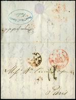 """1846. Encaminadores. Carta Cda De Lisboa A Paris, Tránsito """"Cádiz 27/Mayo 1846"""". Marca De """"Dirigido Por S.S.S."""" - Spain"""
