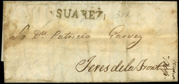 """Mensajerias Gaditanas. 1859. Número 38R """"Suarez"""" Lujo. Muy Rara. - Spain"""