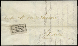 "Mensajerias Gaditanas. 1857. Etiqueta Adhesiva ""José Ballarde Recoje Plaza De S.Agustin 45"" - Spain"