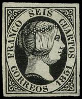 Ed. * 6 - 1851. 6 Cuartos Negro. Ejemplar De Lujo. Amplios Márgenes Y Color Intenso. - Unused Stamps