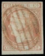 "Ed. 0 12 - 1852. 6 Cuartos. Mat. ""Parrilla Roja"" Borde Hoja. Lujo. Cat. 215€ - Unused Stamps"