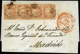 Ed. 12(4) - 1852. Carta Cda De Barcelona A Madrid. Tira De 4 Del 6 Cuartos. - Unused Stamps