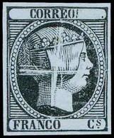 * 1853. Sin Valor. Negro Sobre Papel Azul. Prueba Punzón Limado. Rara En Esta Emisión. (Galvez 27). Lujo. - Unused Stamps