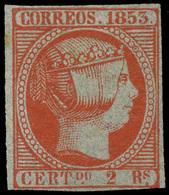 Ed. * 19 - 1853. 2 Reales. Muy Buen Ejemplar. Buenos Márgenes Y Color Muy Intenso. Rarísimo Sello En Nuevo - Unused Stamps