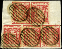 Ed. 24(5) - Fragmento De Carta Con 5 Ejemplares (2+3) Lujo. Escaso. - Unused Stamps