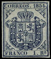 Ed. * 34 - 1854. 1 Real Azul. Lujo. Cat. 4.500€ - Unused Stamps