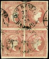 """Ed. 0 48 Bl.4 - Mat. Fechador """"D. Benito-Badajoz"""" (azul). Raros Estos Bloques. - Unused Stamps"""