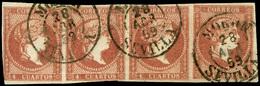 "Ed. 0 48 Tira 4 - Mat. Fechador Tp. I ""Morón-Sevilla"" Precioso. Raro. - Unused Stamps"