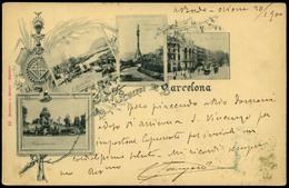 """T.P.(sello Italiano). Preciosa Tarjeta """"Recuerdo De Barcelona"""" Y Con Remite """"a Bordo Orione 20/1900"""" - Nuevos"""