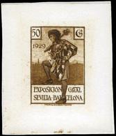 "Galvez S/C 1929. ""Exp. Sevilla-Barcelona"" Papel Cartón Color Castaño. - Nuevos"