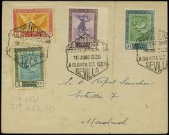 """Ed. 517-518-519-526 S/D - Carta Cda Fechador Conmemor. """"Sevilla 16.Junio 1930 La Quinta De Goya"""" A Madrid. Lujo. - Nuevos"""