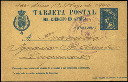 "Ed. 0 T.P. 2A - 1922. ""Dar-Drius 17/May 1922 ...Granada"" Franquicia ""Rgto. Cazadores Lusitania"" En Color Violeta. Rara. - 1889-1931 Reino: Alfonso XIII"