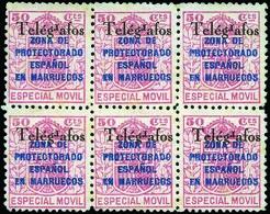 Ed. * 34BHEA Bl. De 6. Variedad De Telégrafos Con La R Invertida. El Mayor Bloque Conocido - Marruecos Español