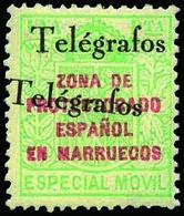 Ed. ** 34CHH Variedad Habilitación De Telégrafos Doble Cat. +170€ - Marruecos Español