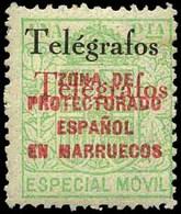 Ed. ** 34CHHA Variedad Habilitación De Telégrafos Doble. 2 Colores. Raro. Cat. ++170€ - Marruecos Español
