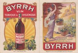 """Calendrier 1924 """"Byrrh Vin Tonique """" Maison Violet à Thuir (Pyrénées Orientales)(femme Art Déco ,raisin,vigne) - Petit Format : 1921-40"""