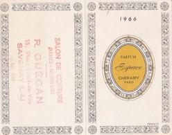 """Calendrier 1966 Parfum """"Cheramy"""" Parfumeur Paris (tampon Coiffeur à Savenay Loire Atlantique) - Calendriers"""