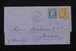 FRANCE - Lettre De Paris Pour Jarnac En 1872, Affranchissement Cérès Bicolore , Oblitération étoile - L 22972 - Marcophilie (Lettres)